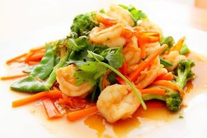 Healthy food prawns and vegetables